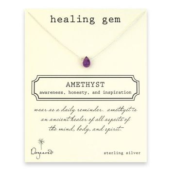 healing gem amethyst necklace, sterling silver