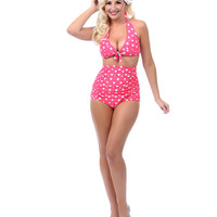 Unique Vintage Pink & White Polka Dot Monroe Bikini Top - Unique Vintage - Prom dresses, retro dresses, retro swimsuits.