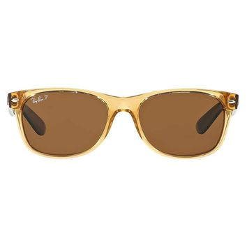Ray Ban New Wayfarer Sunglass Honey Crystal Brown Polarized RB 2132 945/57