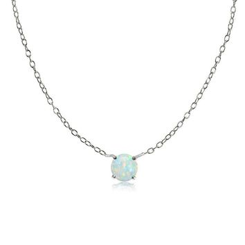 Sterling Silver Small Dainty Round Simulated Opal Choker Necklace