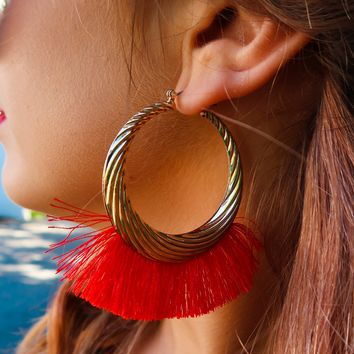 Moving On Earrings: Gold/Red