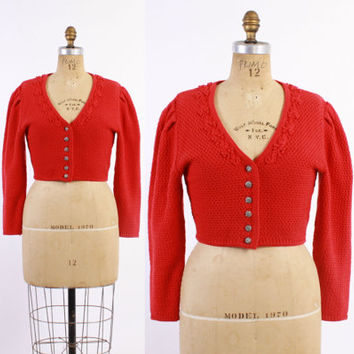 60s RED German Cropped CARDIGAN / Vintage 1960s Cherry Red Folk Cardigan with Puff Sleeves, s - m