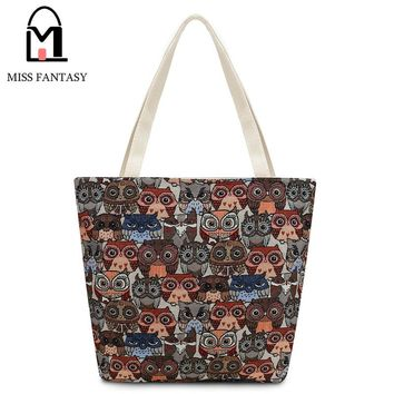 Luxury Handbags Women Bag  Designer Vintage Style Women's Canvas Tote Bag Female Casual Beach Bag Popular With Owl Embroidery