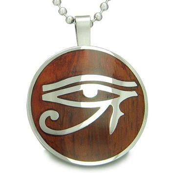 All Seeing Eye of Horus Egyptian Amulet Magic Wood Powers Amulet Circle Pendant Necklace