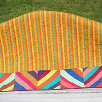 Modern Patchwork Baby Quilt, Crib Quilt, or Kids Quilt - Slanting Stripes
