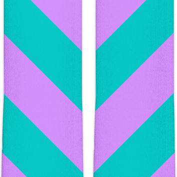 Pastel stripes pattern Knee High Socks, symetric diagonal lines, vector image