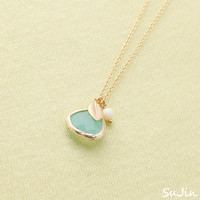 Mint Framed CZ Pendant with Small Leaf and Pearl, Simple, Chic, Necklace