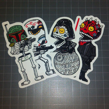 Dark Side Calaveras Vinyl Sticker 4-Pack