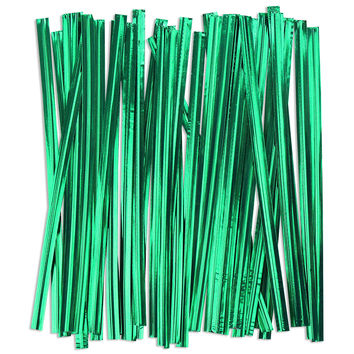 Green Metallic Twist Ties