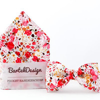Wedding Set Bow Tie & Pocket Handkerchief Bright Pink Flowers
