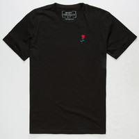 RIOT SOCIETY Rose Embroidery Mens T-Shirt | Solid + Stripe Tees