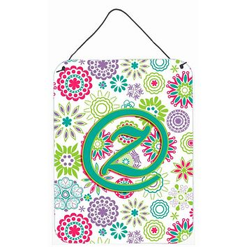 Letter Z Flowers Pink Teal Green Initial Wall or Door Hanging Prints CJ2011-ZDS1216