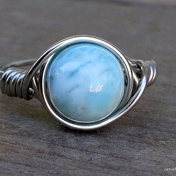Larimar Ring, Silver Wire Wrap Ring, Natural Light Blue Larimar Gemstone Ring, Boho Hippie Ring, Tropical Blue Stone Wrap Ring Gift for Her