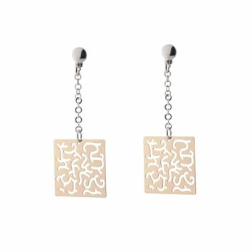 Sterling Silver Rose Gold Plated Dangling Earring Dangling Filigree Squares