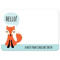 Cute little fox saying Hello, personalized name flat note card