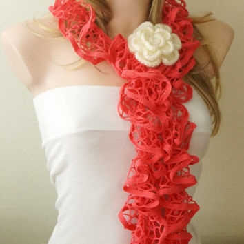 Hot Pink Color- Web lace -Handmade- Crochet Scarf,  Gift with brooch