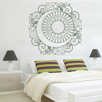 Mandala Wall Decal Ethnic Sunshine Stickers Stars Vinyl Decals Sun and Moon Art Murals Home Interior Design Bohemian Bedding Decor KY112