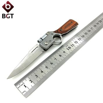 Folding Tactical Survival Knives 5Cr15Mov Blade Wood Handle Camping Hunting Multi Knife With LED Light Combat Pocket EDC Tools