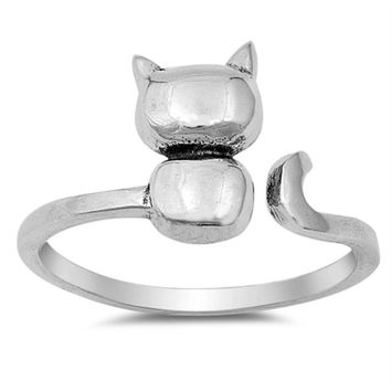 .925 Sterling Silver Kitty Cat Ring with Wrap Band Ladies and Kids Size 4-12 Adjustable Midi Thumb Toe