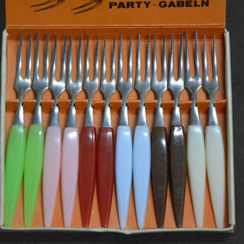 Vintage Mini Forks for Fruit for Barbecue, Stainless Steel Forks, 60's kitchen, Retro, Party Little Forks, 12 Germany Stainless Steel
