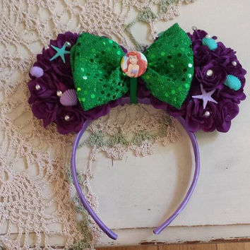 Little Mermaid Inspired Floral Mouse Ears with Bow