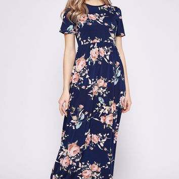 2018 Spring Navy Blue Floral  Printed Poly Spandex High/Low Tank Maxi Dress Pre Order