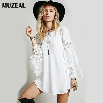 MUZEAL Lace Long Sleeve Mini Dress Flare Wide Sleeve Chiffon Loose Young Girls Party Night Club Casual Above Knee Short Dress 43