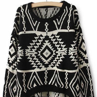 Black Long Sleeve Geometric Sweater