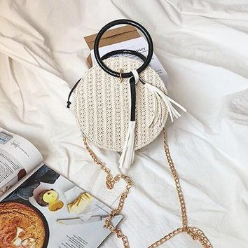 Tote Straw Circle Bag