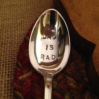 Hand Engraved Silver Spoon, Hand Stamped Silver Spoon, Father's Day Spoon, Hostess Gift, New Dad Gift, Father Gift, Boyfriend Gift