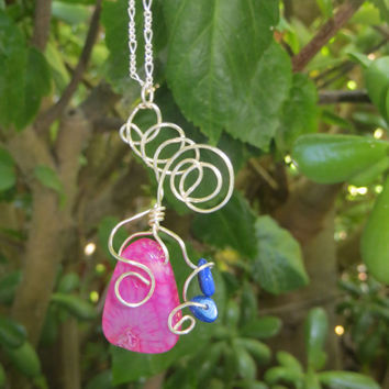Boho Wire Wrapped Necklace / Pink Agate on Sterling Silver / Small Blue Agate Stone Detail