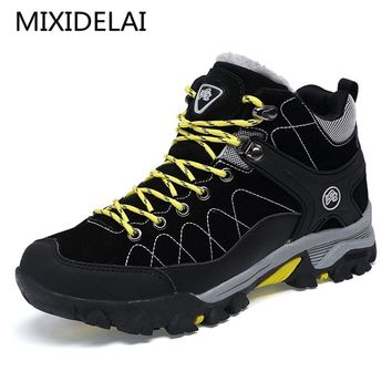 New Men Boots Winter With Fur Warm Snow Boots Men Winter Boots Work Shoes Men Footwear Fashion Rubber Ankle Shoes 39-45