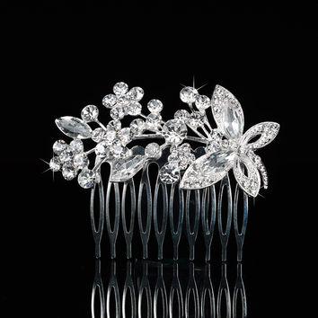 Stylish Pearls Crown Wedding Dress Accessory Brush [6044649217]
