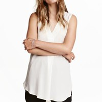Crêpe blouse - White - Ladies | H&M CA