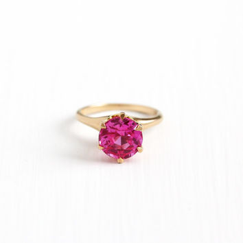 Vintage 10k Rosy Yellow Gold Created Pink Sapphire Ring -  Size 5 1/2 Art Deco Pink Solitaire Alternative Bohemian Engagement Fine Jewelry