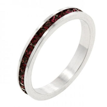 Stylish Stackables With Garnet Crystal Ring (size: 10) (pack of 1 ea)
