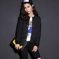 Plain Long-Sleeve Button Baseball Jacket