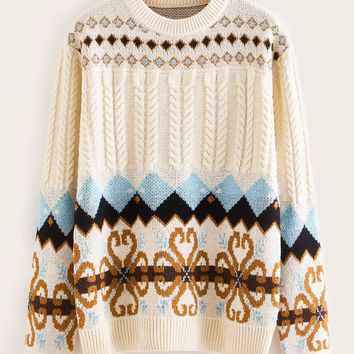 Fair Isle Pattern Cable Knit Sweater