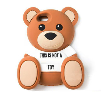 2016 The Newest 3D Cartoon animals Cute Toy brown teedy bear soft silicone case For iphone 4 4s/5 5s/5c/6/6plus