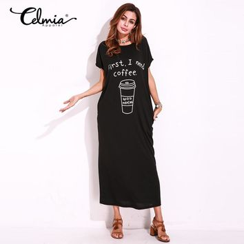 Autumn Basic Long Shift Dress Short Sleeve Sexy Graphic Print Loose Maxi Dresses Tee T shirt Dress Kaftan Vestido Plus Size 5XL