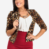 Leopard One Button Closure Jacket