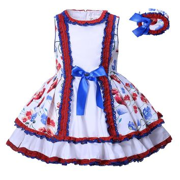 Pettigirl New Style Retro Infant Girl Dress Hand Made Boutique Bownot Summer Dresses Kid Clothes With Headwear G-DMGD001-1312