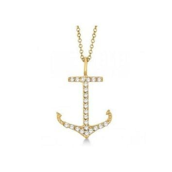 Seven Seas Jewelers Anchor Shaped Diamond Pendant Necklace 14k Yellow Gold (0.30ct)