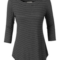 LE3NO Womens Loose Striped 3/4 Sleeve Scoop Neck T Shirt