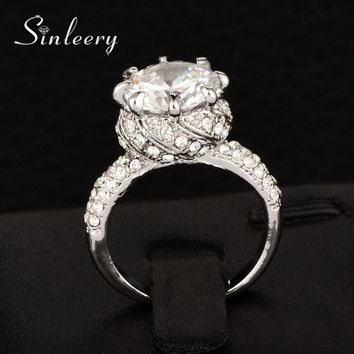 SINLEERY Luxury Round Cut Cubic Zirconia Crystal Princess Ring Yellow /White Gold Color Women Wedding Engagement Jewelry JZ014