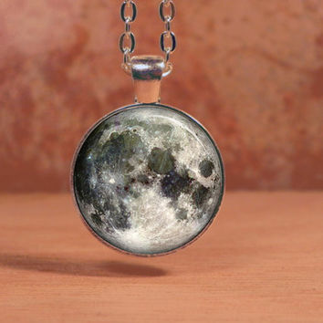Moon Outer Space Stargazer Celestial Pendant Necklace Inspiration Jewelry