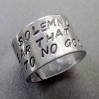Harry Potter Inspired Ring - I Solemnly Swear I Am Up To No Good - Hand Stamped Aluminum
