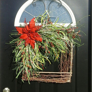 Christmas Present... square wreath, Christmas wreath, Winter wreath, new years wreath, XMAS wreath, Christmas decorations,  decor