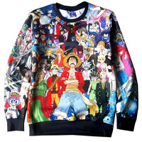 Harajuku Style Japanese Anime Pullovers One Piece Monkey D Luffy/Pokemon/Naruto/Dragon ball Goku 3d Sweatshirt Outerwear 91803