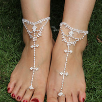 Silver Rhinestone Bar Toe Barefoot Sandals